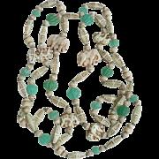 Art Deco Max Neiger Egyptian Revival Uranium Bead Czech Necklace Elephants
