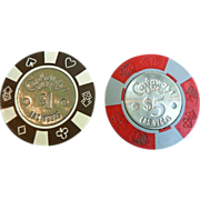 Old Poker Casino Chips Las Vegas Defunct Castaways Casino $5 & $1