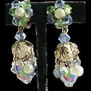 Vintage 1960's Art Glass Dangle Earrings Aurora / Ribbon / Moonstone / Bead