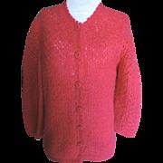SALE 1960's Italian Mohair Sweater Deep Cherry Pink Sz. 8/10