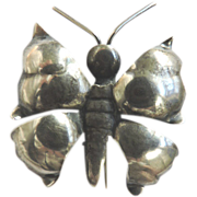 Mid-Century Native American Sterling Silver Butterfly Pin Brooch