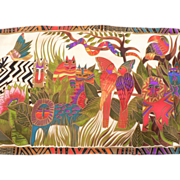 Vintage Laurel Burch Silk Scarf Jungle Animals with Cats