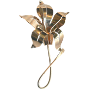 Large 1940s Vintage Sterling Silver Lily Flower Brooch Pin with Gold Vermeil