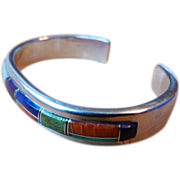Native American Navajo Made Sterling Cuff Bracelet w/Channel Inlay