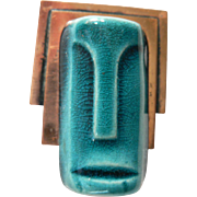 1940's Elzac Copper & Ceramic Tribal Face Mask Pin Brooch