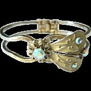 SOLD 1950's-60's AB Rhinestone @ Enameled Butterfly Moth Clamper Bracelet