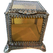 Vintage French Ormolu Jewelry Casket Trinket Box with Amber Glass