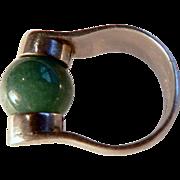 Vintage Modernist Mid Century Nephrite Jade & Sterling Ring