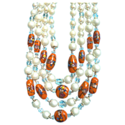 1950s-60s Vintage Venetian Glass with Goldstone, Crystal & Faux Pearl Four Strand Necklace