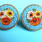 Vintage Micro Mosaic Millefiori Italian Floral Earrings