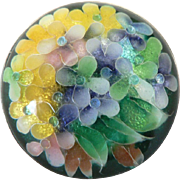 Vintage Japanese Cloisonne Enamel & Silver Flower Pin Brooch