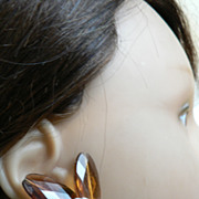 Vintage 1950's West Germany Clear Amber & Irrid. Colors of Faceted Lucite Clip Earrings