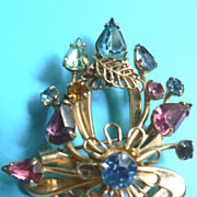 Vintage Colorful Rhinestone Basket of Flowers Pin Pendant