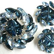 Spectacular 1960's Blue Pinwheel Dome Rhinestone Large Pin & Earring Set, Juliana ?