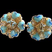 Beautiful 1960's Enamel & Gold Filigree Flower Earrings Old New Stock