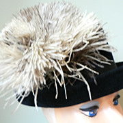 "1960's Vintage ""Christine Original"" Ostrich Feather Plumed Black Velvet Hat"