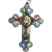 Large1940's Millefiori Micro Mosaic Cross with Pope Pius XII Convex Photo Pendant