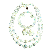1950s Czech. Crystal Full Parure Aurora Borealis Necklace, Bracelet & Earrings