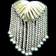 "SALE Art Deco Sterling Silver Designer Signed ""Manrey"" Large Dangle Bead Pin Pins"