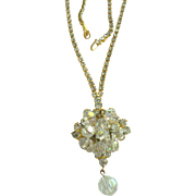 Vintage Rhinestone & Aurora Borealis Dangle Pendant / Pin Necklace