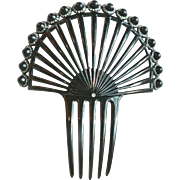 Art Deco Style Hair Comb Black Celluloid Raised Ball with Rhinestone Openwork Hair Accessory