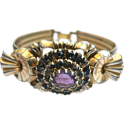 Victorian Gold Fill Amethyst Bracelet Signed P.S. CO