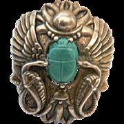 1930's Egyptian Revival Scarab & Serpent Pin Brooch