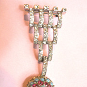 SALE Rare Sterling Silver Vintage Art Deco Style REJA Pin Brooch With Dangle