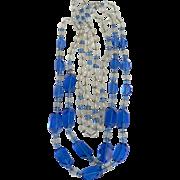 """Art Deco Blue & Clear 55"""" Long Flapper Necklace"""