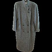 Vintage True MacIntosh Long Coat Herringbone Tweed 100% Wool Very Sharp Sz. 6
