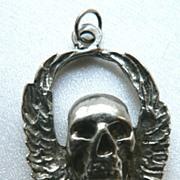 Vintage Cast Sterling Winged Skeleton Charm / Pendant
