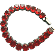 Titanium & Ruby Red Chunky Rhinestone Tennis Style Bracelet