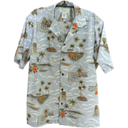 SOLD Vintage KOLEKOLE Hawaiian Aloha Shirt Mint Condition Steel Blue with Tropical Scenes Sz.
