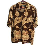 "Vintage ""JOE KEALOHA'S THE GENUINE HAWAIIAN SHIRT"" Rayon Bananas & Coconuts Aloha Sh"
