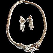 1930's Trifari Pat. Pend Baguette Rhinestone Book Piece Necklace & Earring Parure Set