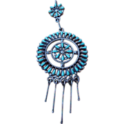 Vintage Native American Zuni Pendant Sterling Silver and Turquoise
