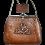 1920's Arts & Crafts Embossed Leather Handbag Art Deco Purse by Wyeth