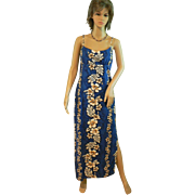 Vintage Hawaiian Full Length Dead Stock Royal Blue Sundress New with Tags Hibiscus Tropical Pr