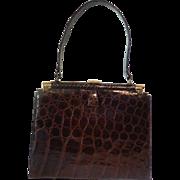 Elegant Kelly Style Vintage Alligator Purse Handbag Cognac Color
