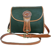 Vintage Equestrian Dooney & Bourke Green & English Tan Leather Crossbody Bag Purse U.S.A.
