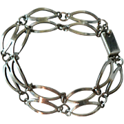 Vintage Mexican Sterling Silver Double Oval Link Bracelet Signed TB
