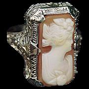 14k White Gold Filigree Art Deco Cameo Ring Size 5 1/2