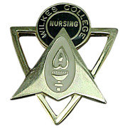 10k Gold Wilkes College Nursing Pin Looks Like Star Trek Insignia!