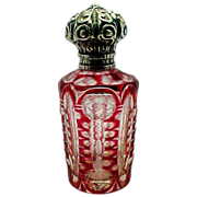 Victorian Sterling Silver Cranberry Glass Perfume Bottle