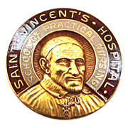 10k Gold St. Vincent's Hospital Nursing Pin Large & Heavy