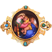 Victorian 18k Gold Portrait Pin Set With Turquoise Madonna & Child