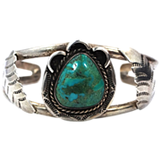 Vintage Navajo James Mason Sterling & Turquoise Cuff Bracelet