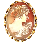 Late Victorian 10k Gold Carved Shell Cameo Pin / Pendant Greek Goddess Hera