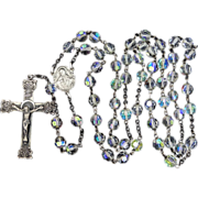 SALE PENDING Elco Sterling Silver Crystal Rosary in Original Box