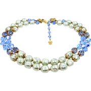 Vendome Rich, Well Made, Blue Glass & Faux Baroque Pearls 2 Strand Necklace